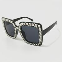 40e8fa8514 Gafas de sol de gran tamaño con montura de lujo Gafas de sol con imitación  de diamante Gafas anti-UV Gafas vintage para gafas Gafas SUN A +++