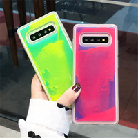 Luxury Luminous Неон Sand Designer телефон Обложка для Samsung Galaxy S8 S9 S10 Plus Примечание 10 8 9 Pro Glow В Dark Liquid Блеск Quicksand Случаи