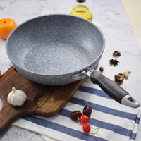 Японский стиль Maifan камень антипригарным плоским дном Вок Deep Deep Сковорода 24cm28cm Газовая плита Универсальная посуда