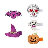 5 Designs filles Cartoon Barrettes Halloween Paillettes tête Accessoires citrouille crâne chauve-souris Chat Chapeau Barrettes Barrettes Accessoires cheveux
