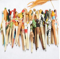 200 teile / los Tier Holzschnitzerei kreative kugelschreiber holz Kugelschreiber handgemachte skulptur student kugelschreiber kostenloser versand