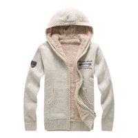 Automne hiver mode décontracté chandail cardigan manteau homme lâche coupe 100% laine chaude vêtements chaudiques manteaux de pull à capuche amorcé hommes d'hiver
