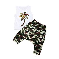 Beach Style Bambini Baby Girl Sets Imposta estate 2 pezzi Cocco Tree Print Vest + Camo Harem Pants Holiday Boy Cotton Outfit 1-5T