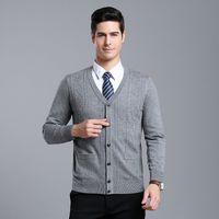 Argyle masculina de lã grossas AutumnWinter MACROSEA Cardigan camisola estilo clássico masculino de mangas compridas camisola Sweatercoat 9082