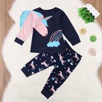 Новый стиль Дети Девочки Одежда с длинным рукавом Кружева Мультфильм Unicorn Топ + брюки 2pcs Эпикировка Пижамы Homewear пн