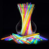 100шт многоцветные светящиеся палочки браслеты ожерелья флуоресцентный свет палочки из светодиодов проблесковый маячок палка ну вечеринку свадьба магия опора украшения игрушки