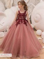 Девчушки Salmon бального платья Детские Pageant платье выпускной вечер платье для девочек в возрасте от 5 6 7 8 9 10 11 12 Years