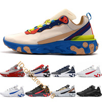 Top Reagir Elemento 55 87 Running Shoes For Men Sneakers 2019 Designer ouro Faixa Solar Red meia-noite Mens Navy Sports Trainers Tamanho 7-11