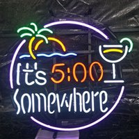 5:00 da qualche parte Neon Sign Bar Holiday Display Advertising Decoration Personalizzato da parete Real Glass Light Metal Frame 17 '' 20 '' 24 '' 30 ''
