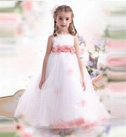 Beautiful Tulle Flower Girl Dresses For Wedding A-Line Pageant Desses For Children Big Bow First Communion Dress Birthday Gown For Girl