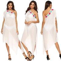 El Kapüşonlu Çiçek Patchwork Maxi Elbiseler Seksi Bir Omuz Düzensiz Beyaz Uzun Elbiseler Splifs Plaj Örtüsü UPS