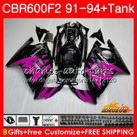 Kit For HONDA CBR 600F2 CBR600FS 600CC CBR600 F2 91 92 93 94 40HC.288 CBR 600 FS F2 CBR600F2 1991 pink black 1992 1993 1994 Fairing +Tank