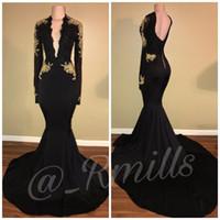 2019 elegante cuello en V profundo negro niña sirena vestidos de baile apliques de oro mangas largas vestidos de noche ropa formal BA7942