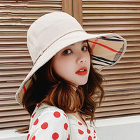 Wide Brim Hats Solid Color Tether Plaid Sunscreen Visor Outd...