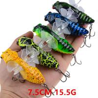 1 stks 10 kleur 7.5 cm 15.5 g cicade vissen haken vishoeken 4 # bloed slot haak vissen lokken harde aas lokt pesca vis tackle b86_67