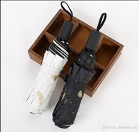 Bronzing Feathers Black Rubber Three Fold Shade Travel Umbrella