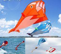 4 cores bonito enorme Outdoor Fun Sports Linha Software Whale Dolphin Kite Flying High Quality presente 5 Pcs Atacado Drop Shipping