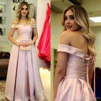 Sencillo A-línea rosa vestidos de baile elegante del hombro con cordones del vestido de nuevo vestidos de noche de satén por encargo barata Invitado a la Fiesta Bodas