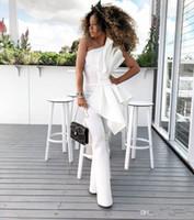 New Vintage White Frauen Jumpsuit Prom Kleider Mit Großen Bogen Eine Schulter Formale Party Abendkleider Nach Maß Kleid Für Besondere Anlässe AW330