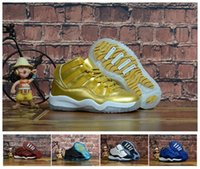 Hot Sale Kids 11 Legend Blue Space Jam Metallic Gold Childre...