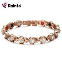 Rainso Manyetik Kristal Bileklik Bilezik Rhinestone Takı Kadın Aksesuarları Sağlıklı Biyo Enerji Hologram Germanyum Bilezikler J190707