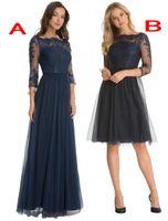 На Заказ Nay Blue Short Tulle A-Line 3/4 Рукава Sheer Lace Mother Of The Bride Платья Длиной До Колен Свадебные Платья Невесты Выпускного Вечера
