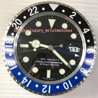 9 색상 새 벽 시계 스테인리스 116710 116718 116719 34cm x 5cm 블루 발광 돋보기 날짜 VK 홈 장식 벽시계