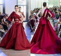 Celeridad vestido rojo de un hombro vestidos de noche 2020 Elie Saab volante tren de barrido de pista de baile formal vestidos del partido sin respaldo Moda