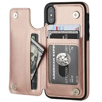 For iPhone 6 7 8 Plus x xr xs max wallet phone case with Car...