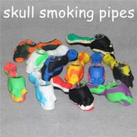 Wholesale colorido mini silicone fumar colher tubos de tabaco tubos de silicone handpipes mistos cores crânio sonda fumaça