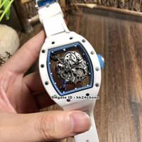 Горячий 8 стиль лучший RM055 белая керамическая бубба Уотсон Япония Miyota Autoamtic Mens часы скелет циферблат резиновый ремешок ворота часов синий M21A