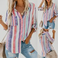 Hot Sell New Womens Ladies Pocket Long Sleeve Colored Stripe...