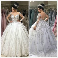 Plus Size Crystals Lace Arabic 2019 Wedding Dresses Long Sle...