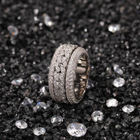 Anello cubano girevole Fashion Hip Hop Jewelry Mens Gold Gold Silver Diamond Diamond Diamond Out anelli