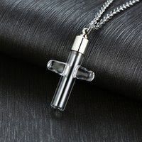 ZORCVENS einzigartige Silber-Farben-Edelstahl-Glas-Kreuz-Anhänger-Halsketten für eine Frau einen Mann Jahrestag Geschenke Zubehör