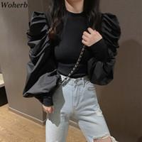 Woherb Корейский моды черный Пуловеры Половина Водолазка Длинные рукава Puff Перемычки Твердая Лоскутная Тонкий свитер женщин Осень Новый