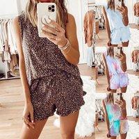 20ss 새로운 타이 염색 인쇄 조끼 여성 잠옷 여름 민소매 여성 잠옷 투피스 패션 캐주얼 홈 의류 세트