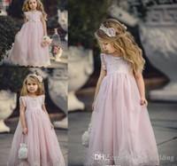 2019 Barato Encantador Rosa Joya Cuello Largo de Encaje Boho Vestidos de Niña de Flores Hija Niño Bonito Niños Concurso Primera Comunión Santa Vestido