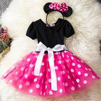 Yeni Kız Yay Tatlı Nokta Elbise Çocuk Prenses Elbise Çocuk Giyim + Kafa