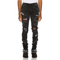 Men' s black bird embroidered painted ripped jeans Stree...