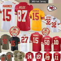 15 Patrick Mahomes Maillots 32 Tyrann Mathieu 10 Tyreek Hill 87 Travis Kelce NCAA 27 Hunt nouveaux maillots 60e