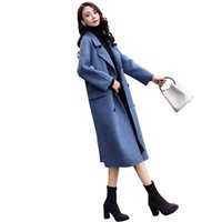Nieuwe aankomst faux wol mix herfst lange trenchcoat windbreaker voor vrouwen vrouwelijke overjas cape uk mantel cocoon Tweed Manteau