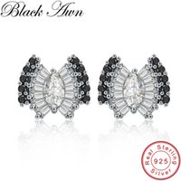 [BLACK AWN] Wedding Stud Earrings for Women Genuine 925 Ster...