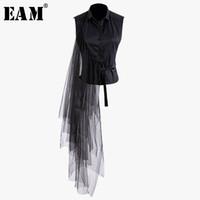 [EAM] 2019 Новой весна лета отворота рукава черных Нерегулярных бинты сетка стежок Свободных рубашки Женщина Блузка Мода Tide JT870