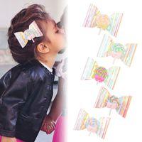 아기 소녀 헤어 클립 활 롤리팝 장식 조각 투명한 배럴당 헤드 액세서리에 대 한 머리 핀 5 색