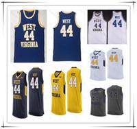 NCAA Vintage Basketball 44 Jerry West Jersey Hommes cousu College West Virginie montagnards WVU Jerseys cousu Blanc Blanc Blanc Jaune Navy S-4XL