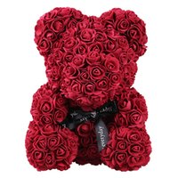Romantico PE Rose Bear Toy Regali per le donne Fidanzata Flower Birthday Wedding Decoration Party Kids Doll Toy