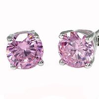 Luckyshine Round Cubic Zirconia Earring Stud European Style Silver Pink Kunzite Stud Earrings 8 mm For Women