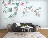 ورق الجدران 3D لنوم رومانسية النباتات المائية رسمت باليد الشمال الإصلاحي والزهور الرعوية نمط جدارية HD خلفيات