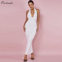 Ocstrade Femmes Sexy Club Wear été Backless Blanc Bodycon Robes évider Vneck longue Maxi Dress Bandage Q190418